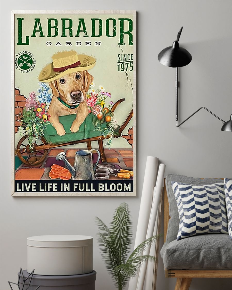 labrador garden live life in full bloom vintage poster 3