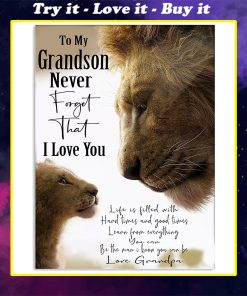 lion to my grandson never forget that i love you grandpa poster