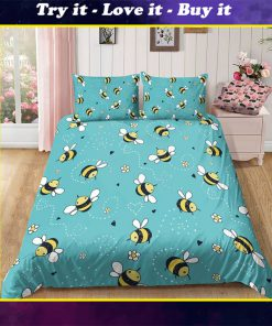 lovely bees all over printed bedding set