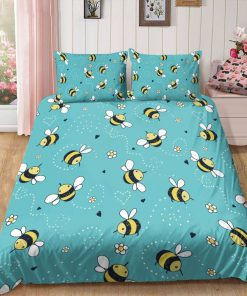 lovely bees all over printed bedding set 4