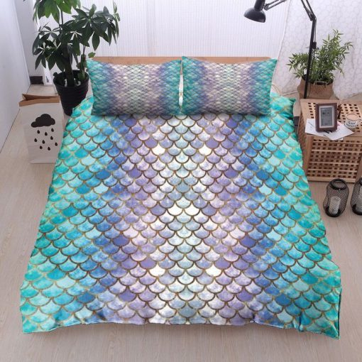 mermaid fin all over printed bedding set 2