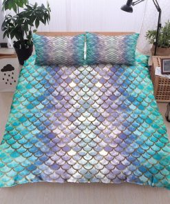 mermaid fin all over printed bedding set 3