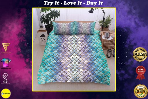 mermaid fin all over printed bedding set