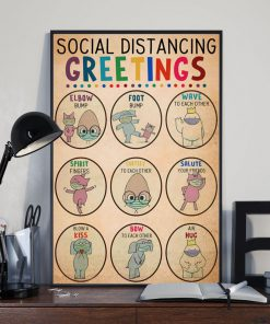 social distancing greetings animals vintage poster 2