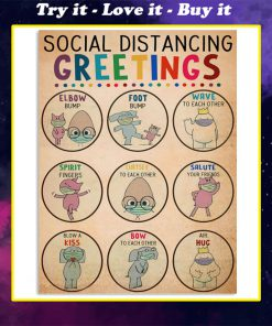 social distancing greetings animals vintage poster