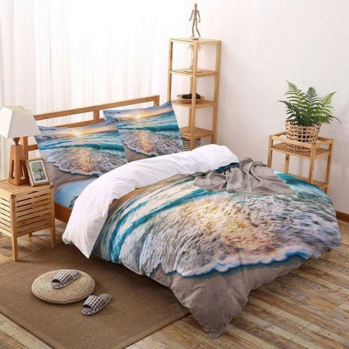 the beach all over printed bedding set 4