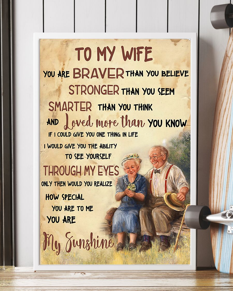 to my wife you are braver than you believe you are my sunshine poster 5