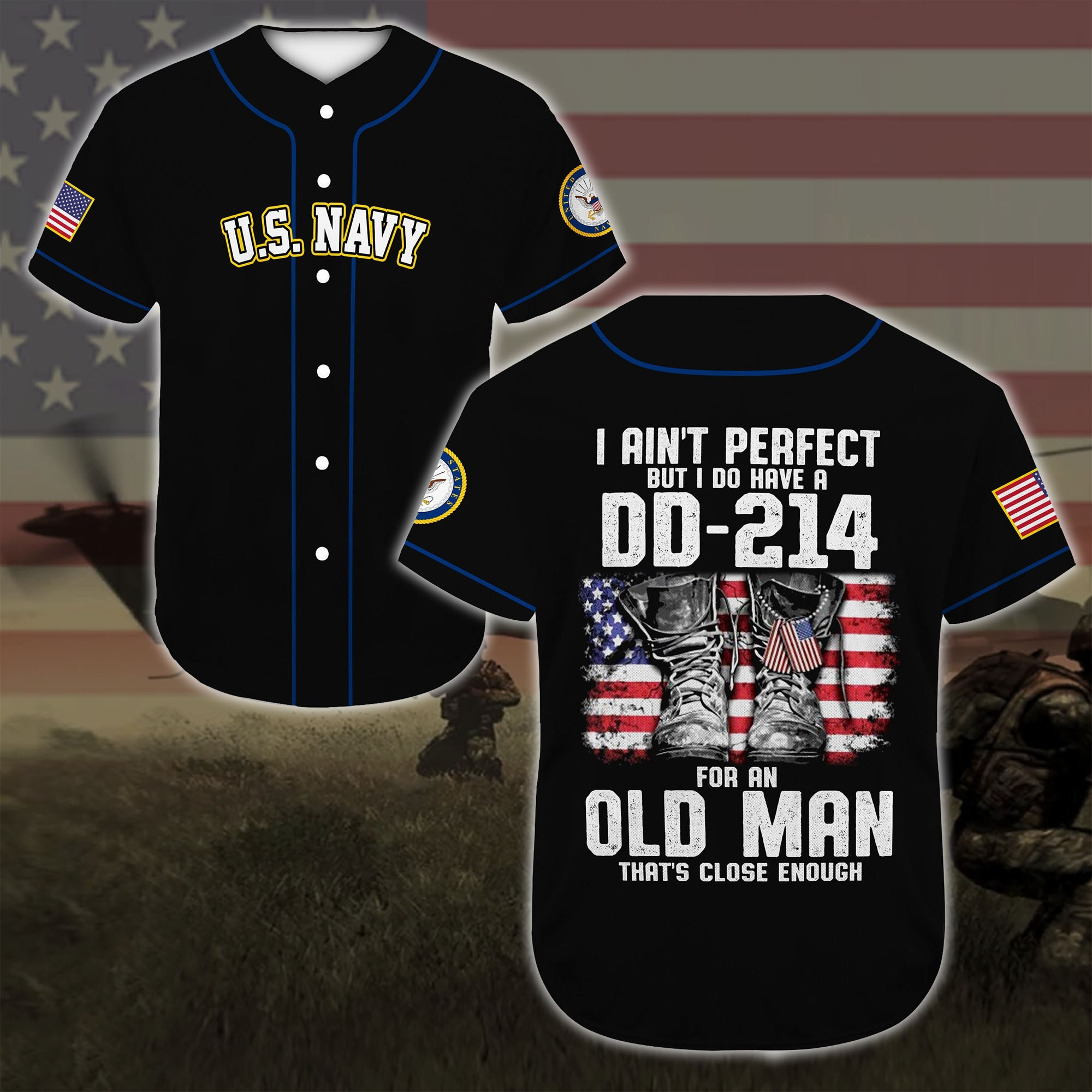 united states navy veteran boots all over printed baseball shirt 3