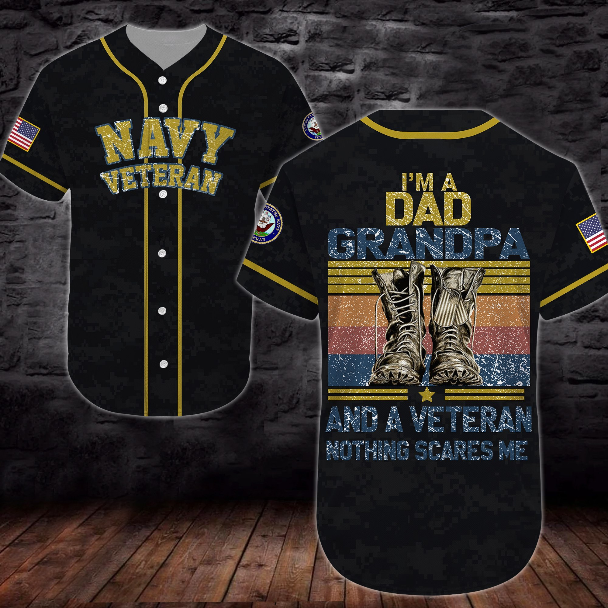 united states navy veteran boots im a dad all over printed baseball shirt 2