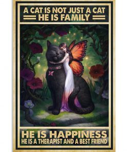 vintage a cat is not just a cat he is sanity he is happiness he is teacher he is therapist poster 2