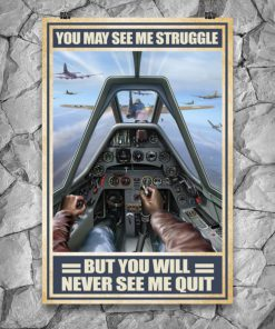 vintage air force you may see me struggle but you will never see me quit poster 4