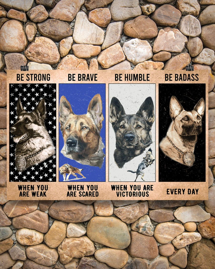vintage dog military be strong be brave be humble be badass poster 2