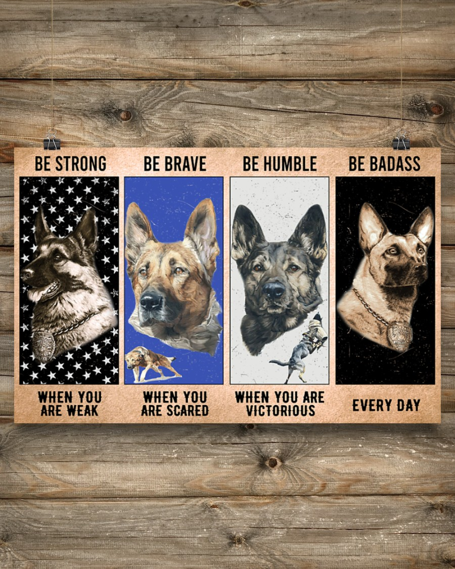 vintage dog military be strong be brave be humble be badass poster 3