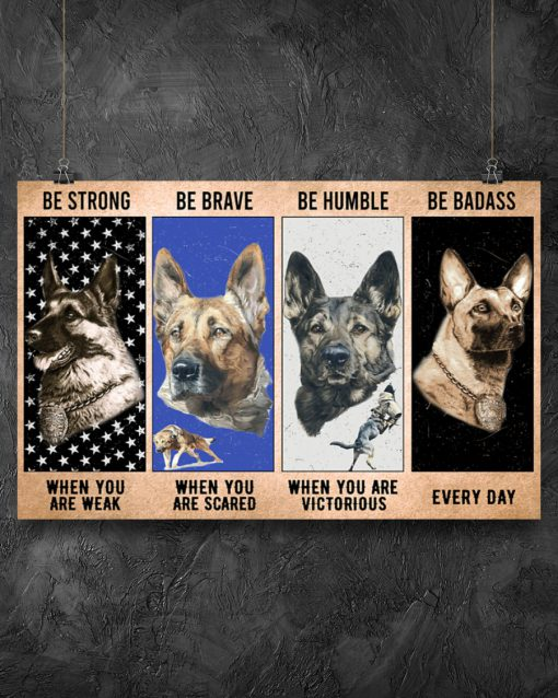 vintage dog military be strong be brave be humble be badass poster 4