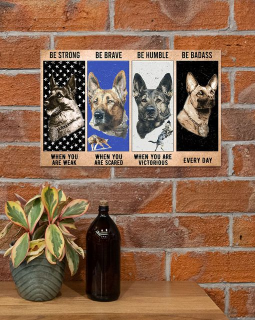 vintage dog military be strong be brave be humble be badass poster 5