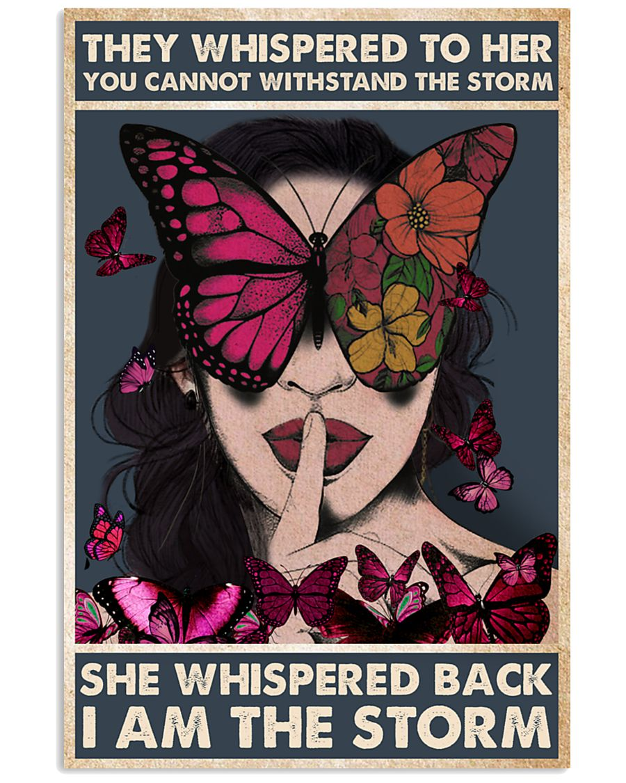 vintage girl and butterfly they whispered to her you cannot withstand storm poster 2