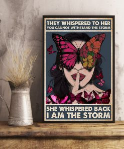 vintage girl and butterfly they whispered to her you cannot withstand storm poster 4