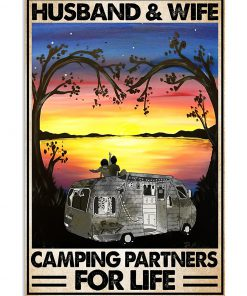 vintage husband and wife camping partners for life poster 3