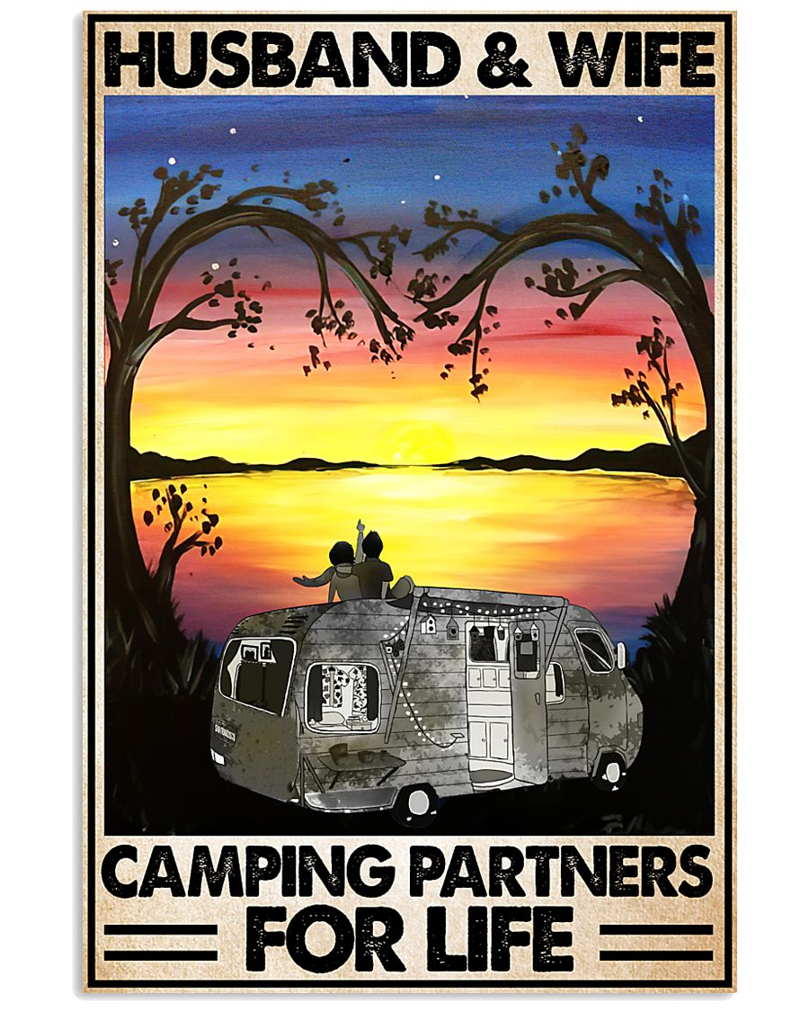 vintage husband and wife camping partners for life poster 5