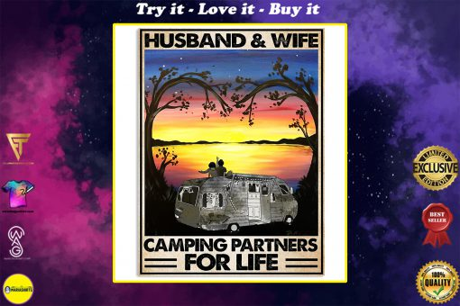 vintage husband and wife camping partners for life poster