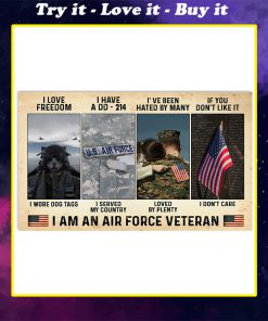 vintage i love freedom i have a dd-214 i am an air force veteran poster