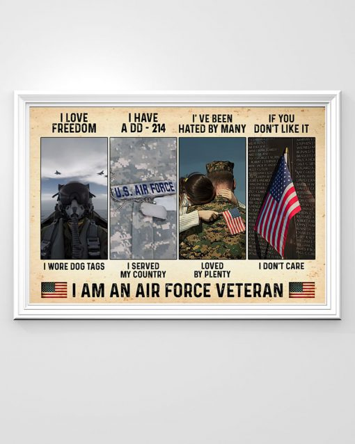 vintage i love freedom i have a dd-214 i am an air force veteran poster 3