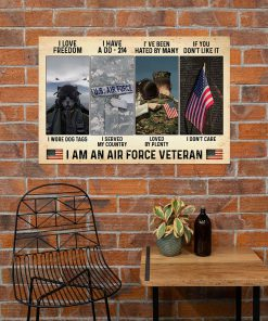 vintage i love freedom i have a dd-214 i am an air force veteran poster 4
