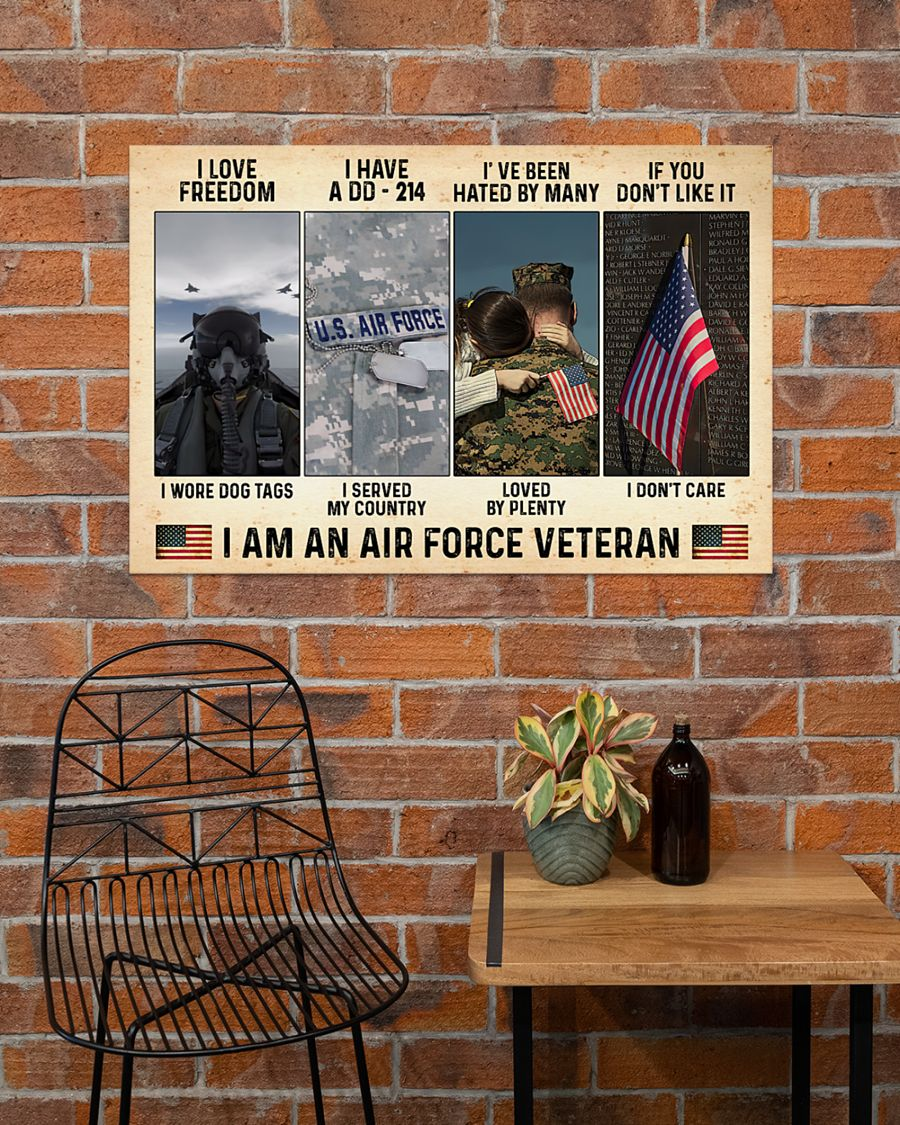 vintage i love freedom i have a dd-214 i am an air force veteran poster 5
