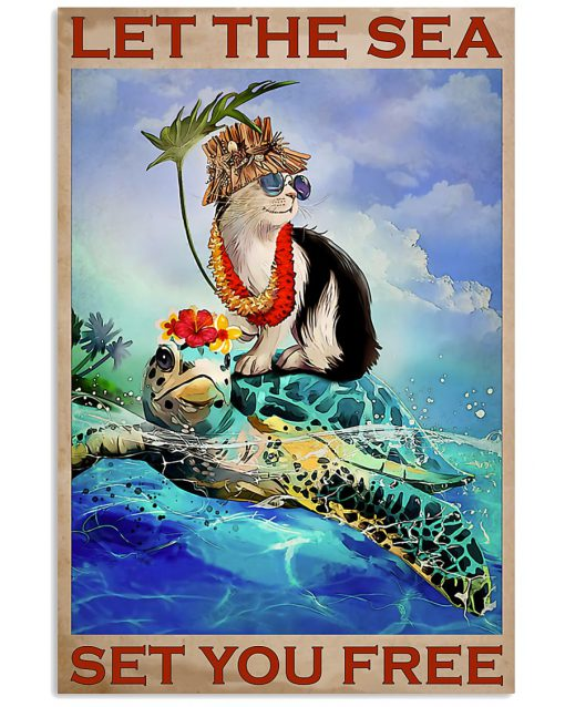 vintage let the sea set you free turtle and cat poster 2