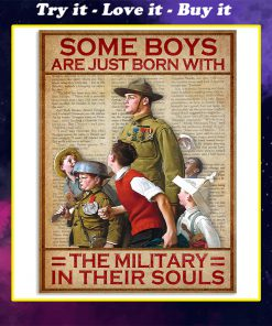 vintage some boys are just born with the military in their souls poster