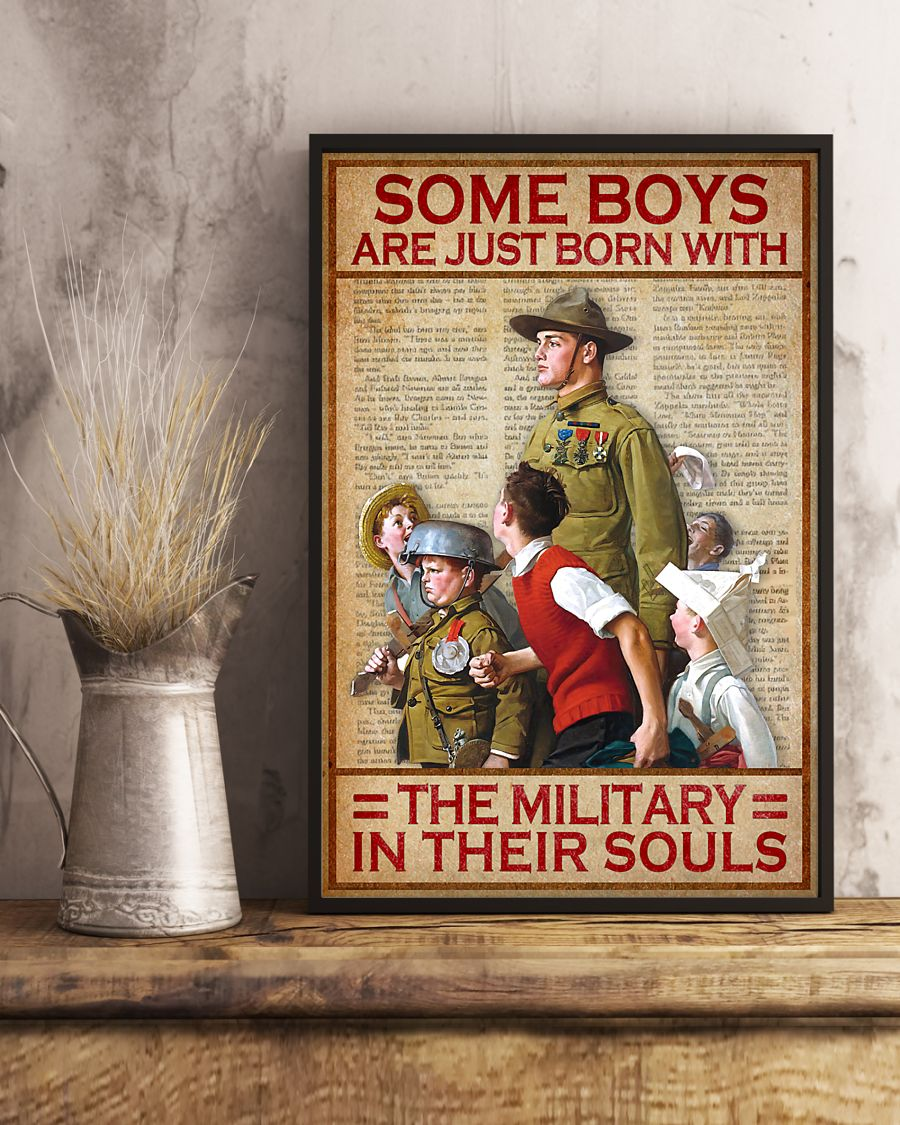 vintage some boys are just born with the military in their souls poster 3
