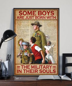 vintage some boys are just born with the military in their souls poster 4