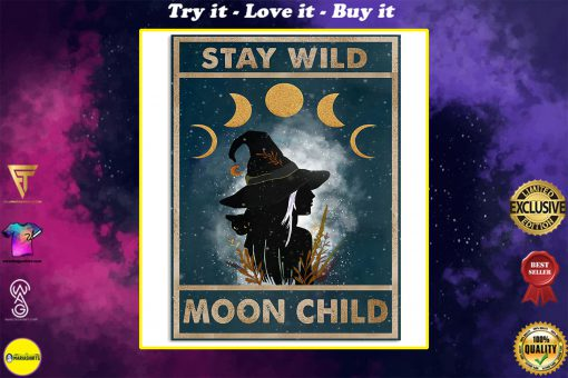 vintage stay wild moon child witch lady poster