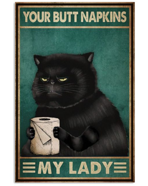 vintage your butt napkins my lady black cat poster 2