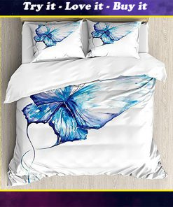 watercolor butterfly blue all over printed bedding set