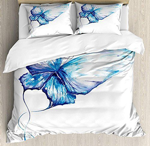 watercolor butterfly blue all over printed bedding set 3