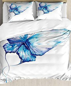 watercolor butterfly blue all over printed bedding set 4