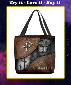 Jesus faith over fear leather pattern all over printed tote bag