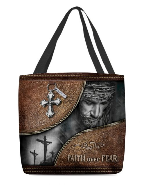 Jesus faith over fear leather pattern all over printed tote bag 3