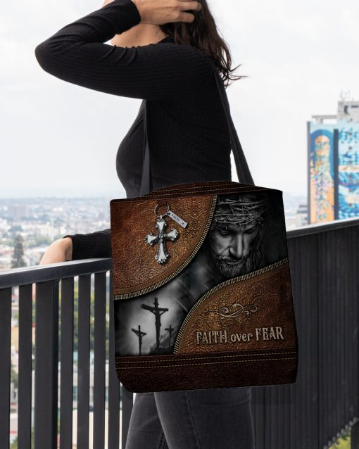 Jesus faith over fear leather pattern all over printed tote bag 4