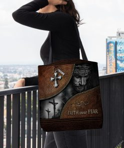 Jesus faith over fear leather pattern all over printed tote bag 5