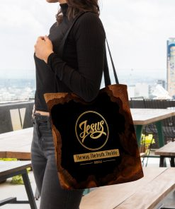 Jesus the way the truth the life leather pattern all over printed tote bag 4
