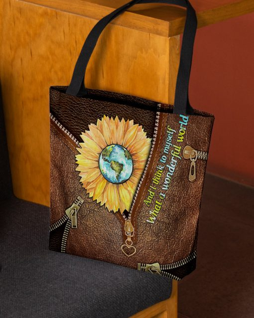 and i think to myself what a wonderful world leather pattern all over printed tote bag 2