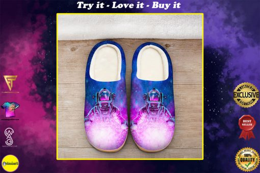 astronaut space galaxy colorful all over printed slippers