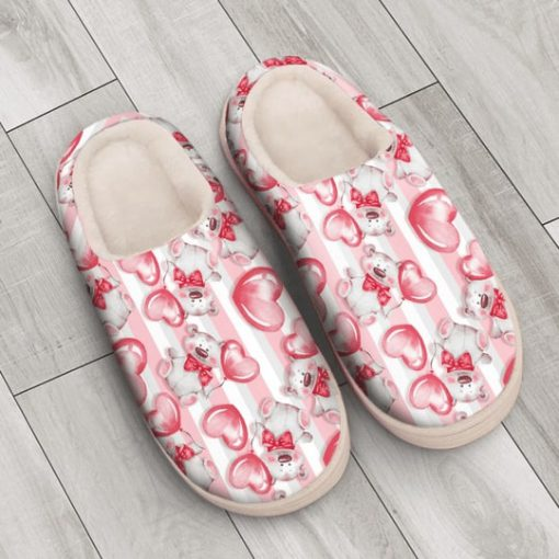 baby bear with heart all over printed slippers 4