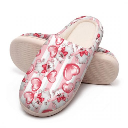 baby bear with heart all over printed slippers 5