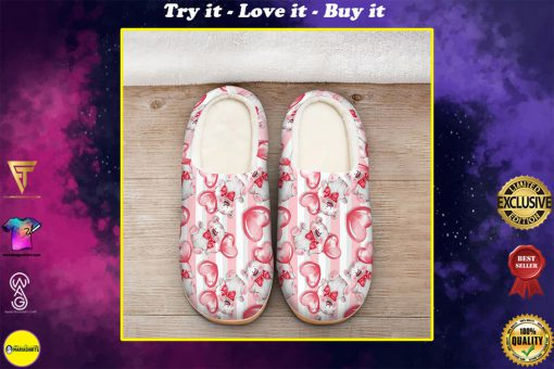 baby bear with heart all over printed slippers
