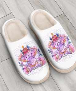 baby elephant with flower all over printed slippers 4