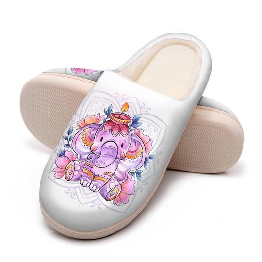 baby elephant with flower all over printed slippers 5