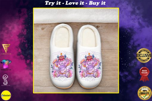 baby elephant with flower all over printed slippers